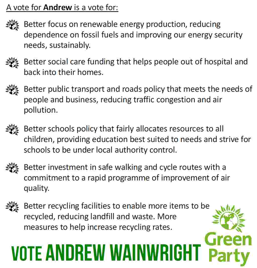 Reasons to vote for Andrew Wainwright